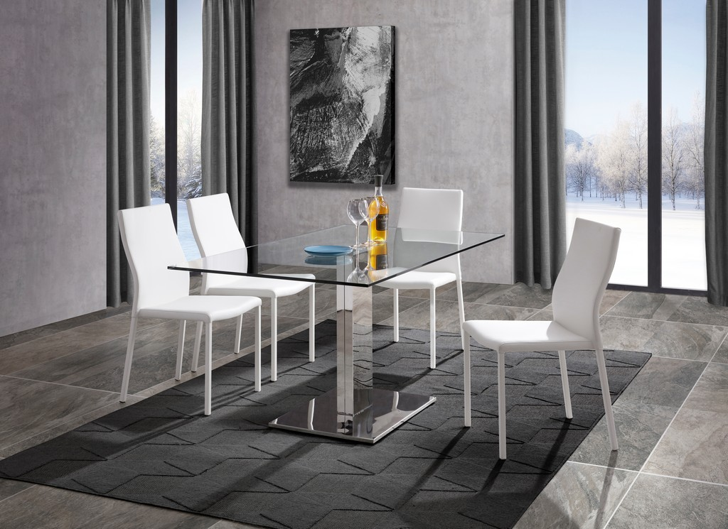Genoa Dining Table Clear Tempered Glass Top Polished Steel Frame