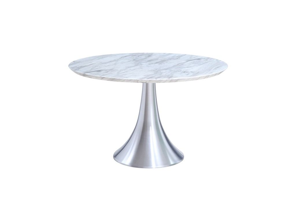 Flow Round Dining Table Artificial Jazz White Marble Top Steel Base
