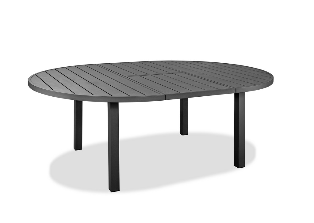 Aloha Indoor/Outdoor Extendable Oval Dining Table In Grey Aluminium, Powder-Coating Finished - Whiteline Modern Living DT1565-GRY
