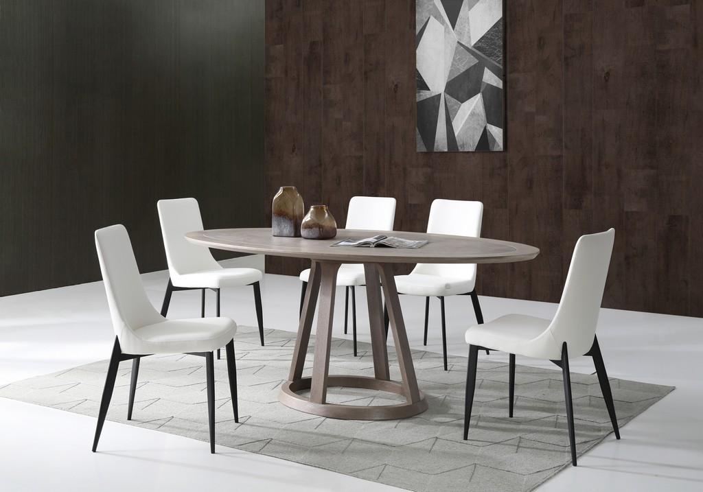 Whiteline Furniture Oval Dining Table Mm Gray Ceramic Gray Oak Veneer Top Gray Oak Veneer Base