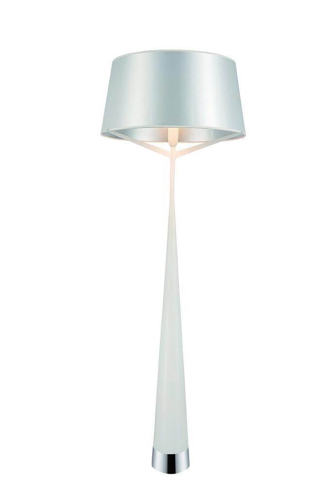 Whiteline Floor Lamp Carbon Steel White Fabric Shade