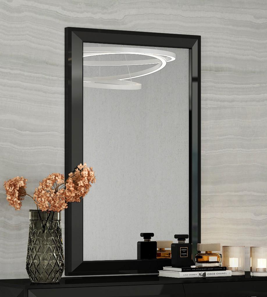 Abrazo / Eddy / Kimberly Mirror High Gloss Black - Whiteline Modern Living MR1356-BLK