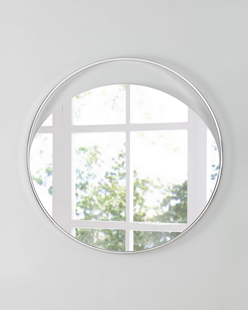 Ariel Large Round Mirror In Matte White Polished Stainless Steel Frame - Whiteline Modern Living MR1440L-WHT