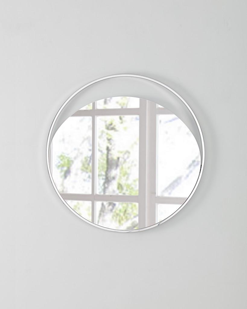 Ariel Medium Round Mirror In Matte White Polished Stainless Steel Frame - Whiteline Modern Living MR1440M-WHT