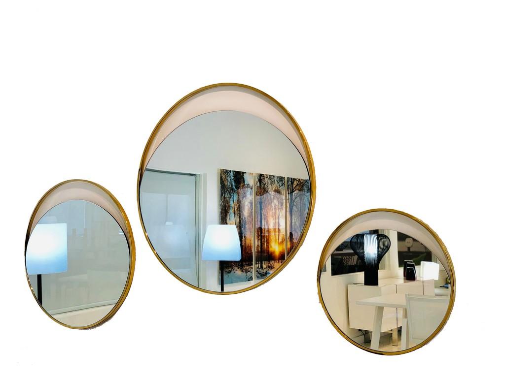 Ariel Small Round Mirror In Matte BlackPolished Gold Stainless Steel Frame - Whiteline Modern Living MR1440S-GOL