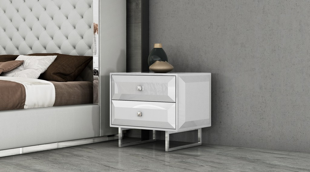 Abrazo Night Stand High Gloss White 2 Self-Close Drawers With Geometric Design Chrome - Whiteline Modern Living NS1356-WHT