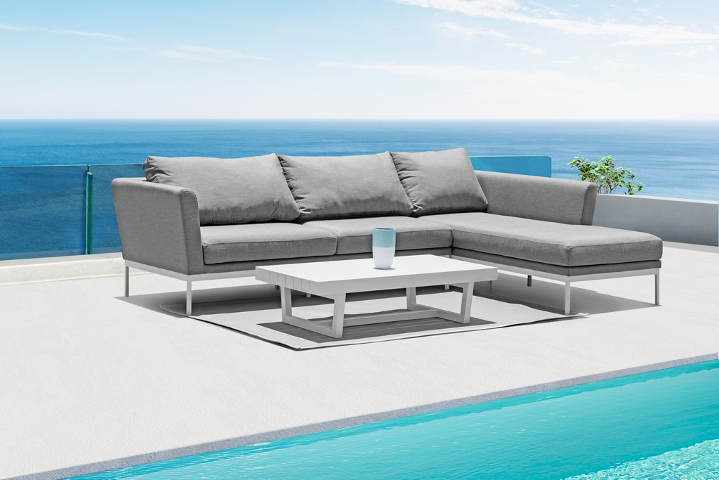 Indoor Outdoor Sectional Chaise Right Grey Sunbrella Fabric Quick Dry Foam Aluminum Frame