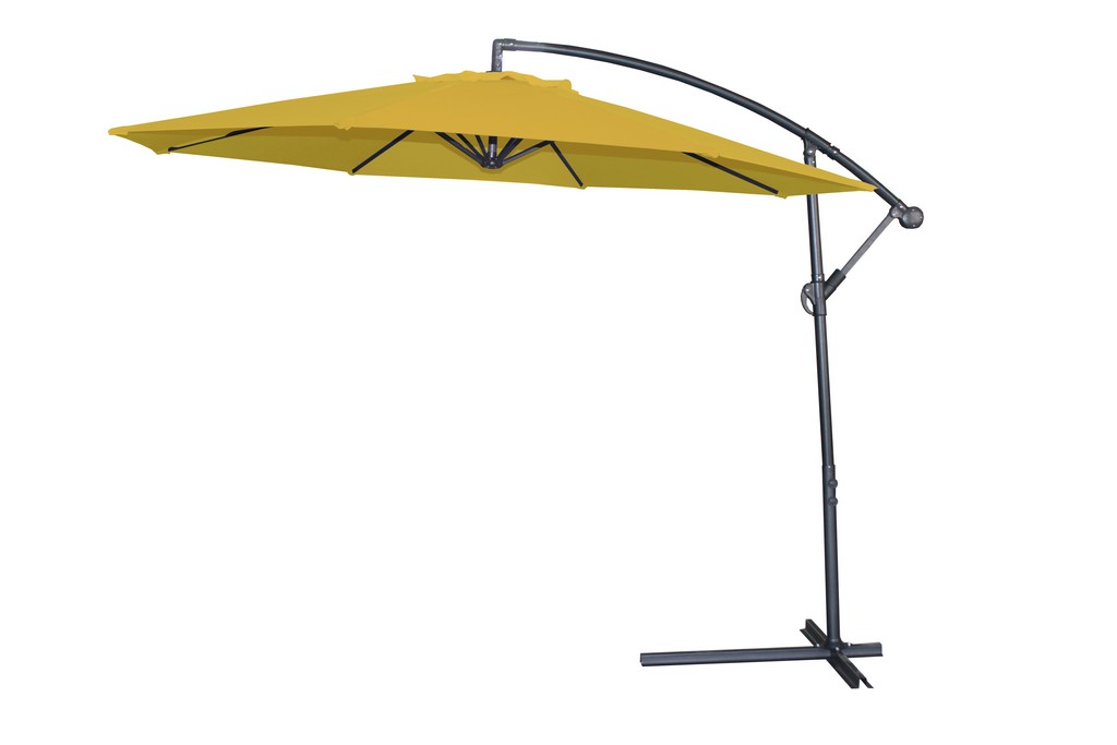 Aiden Outdoor Standing Umbrella, Polyester Fabric In Yellow, Aluminum Stand, Air Vent, Without Flap, Steel Cross Base With Crack - Whiteline Modern Living UM1683-YLW