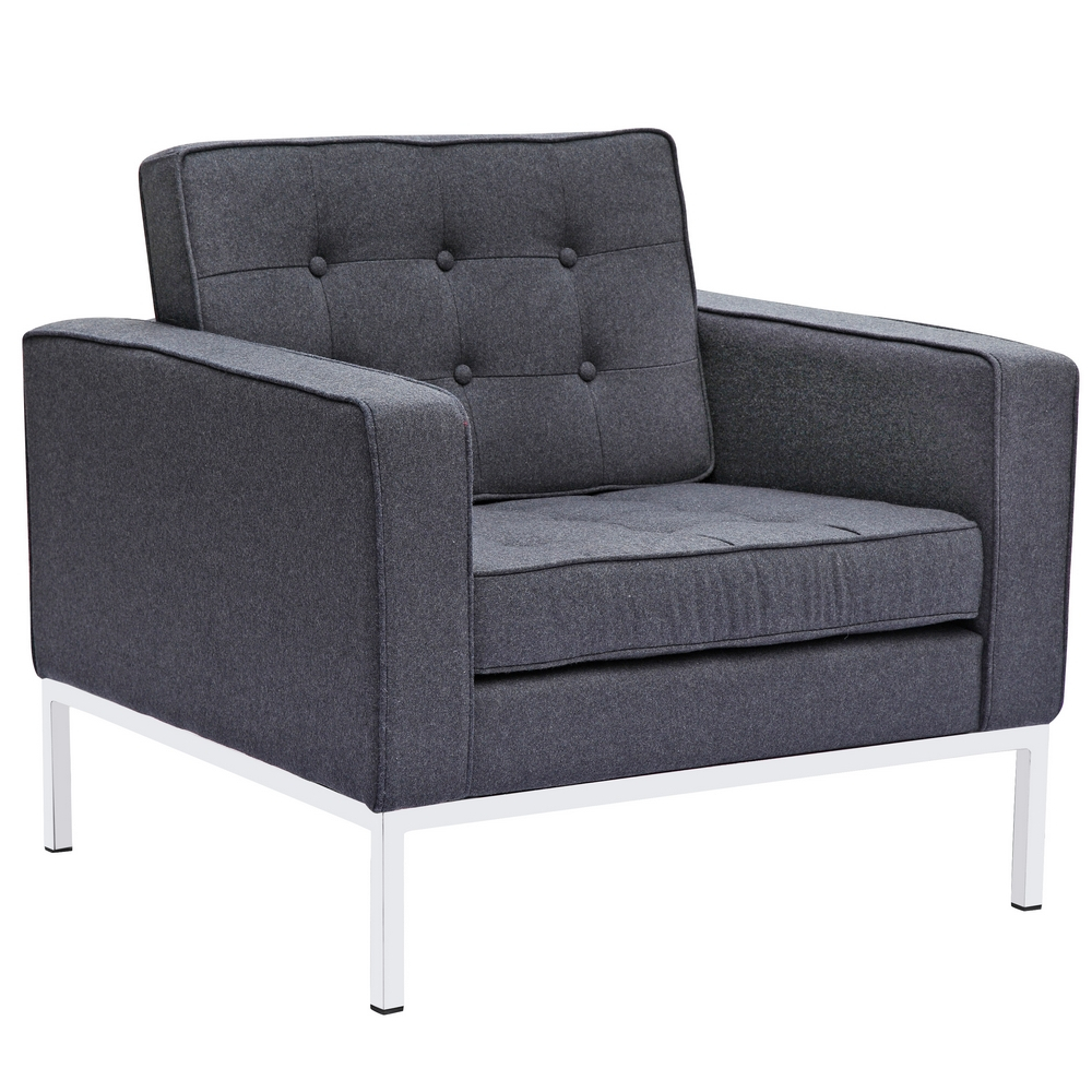 Fine Mod Imports Button Arm Chair in Wool In Gray - FMI2214-1-GRAY