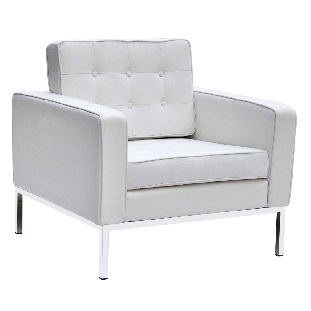 Fine Mod Imports Button Arm Chair in Wool In White - FMI2214-1-WHITE