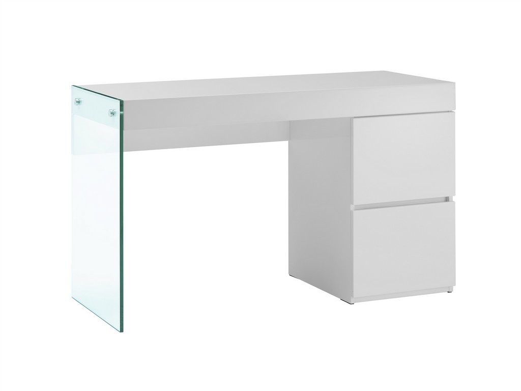 Office Desk High Gloss White Lacquer Clear Glass Casabianca