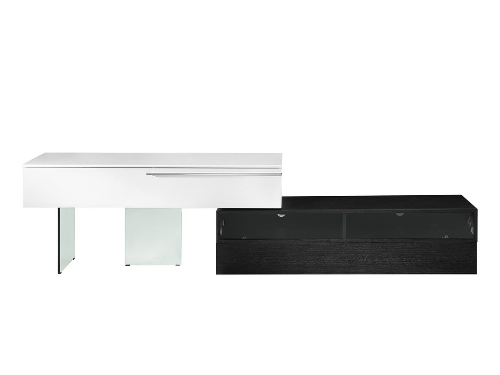AIR entertainment center in high gloss white lacquer and dark gray oak veneer with clear glass legs - Casabianca CB-5420TV-WGR