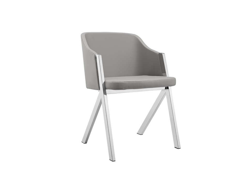 ACORN dining chair in gray with stainless steel base - Casabianca CB-F3202-G