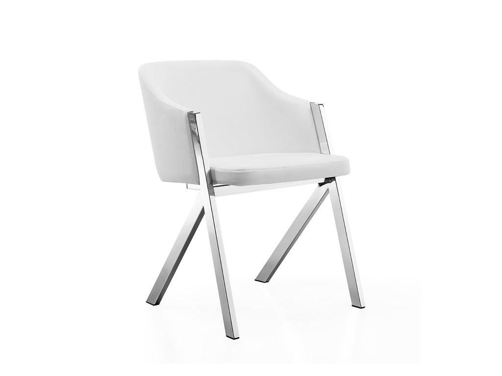 ACORN dining chair in white with stainless steel base - Casabianca CB-F3202-W