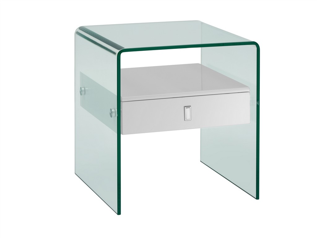 BARI nightstand in high gloss white lacquer with glass - Casabianca CB-J052