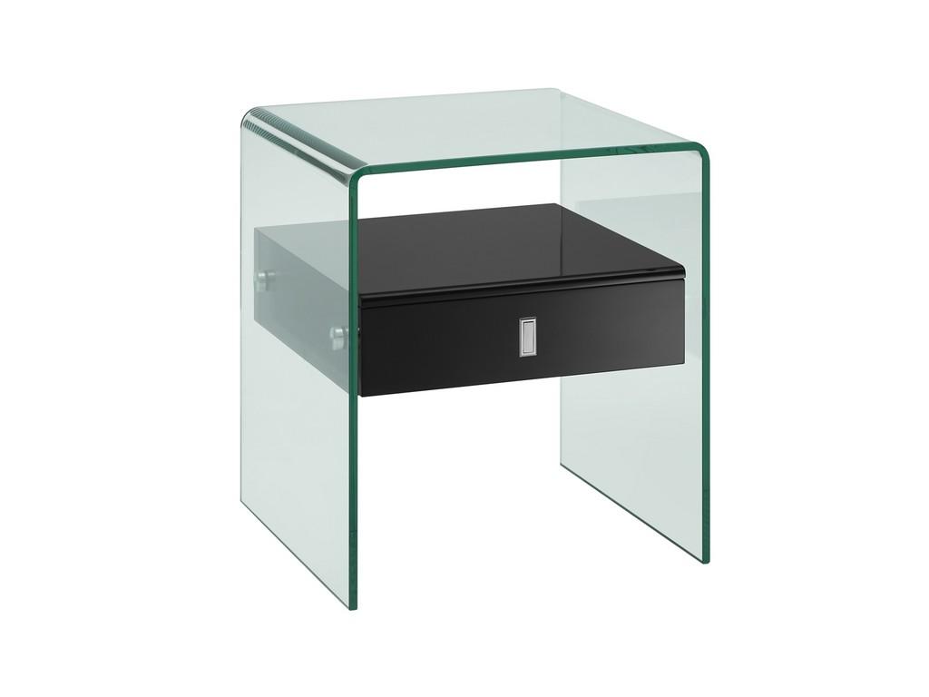 BARI nightstand in high gloss black lacquer with glass - Casabianca CB-J052-BL