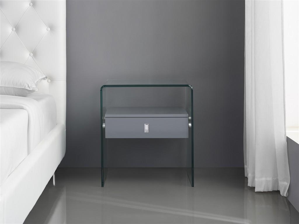BARI nightstand in high gloss dark gray lacquer with glass - Casabianca CB-J052-GRAY