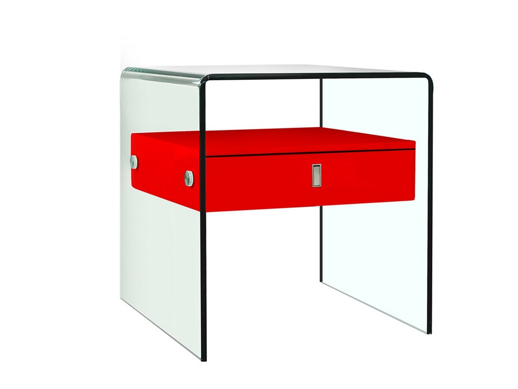 BARI nightstand in high gloss red lacquer with glass - Casabianca CB-J052-Red