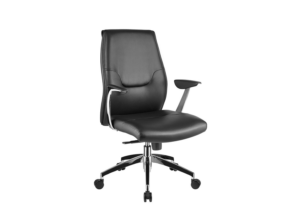 ARENA office chair in black leather with chrome plated base - Casabianca CB-O110-BL