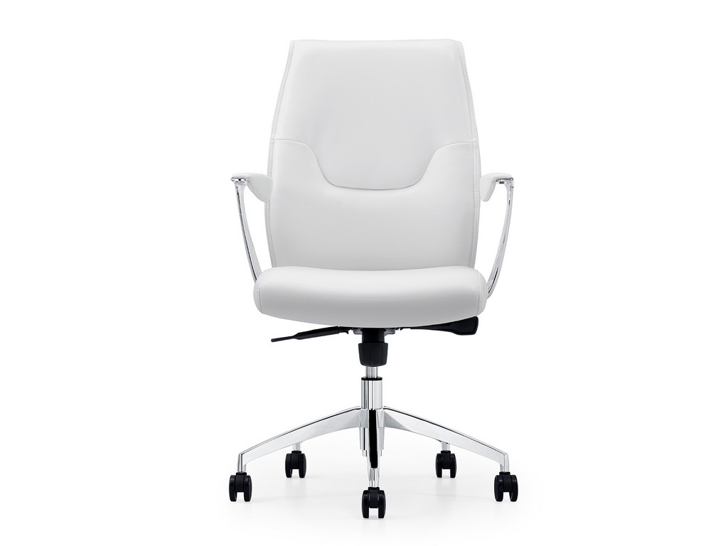 ARENA office chair in white leather with chrome plated base - Casabianca CB-O110-WH