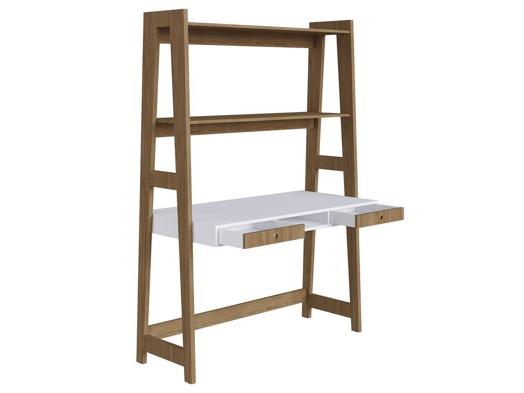 Mont Blanc Office Desk White Melamine Built Bookcase Oak Legs Casabianca