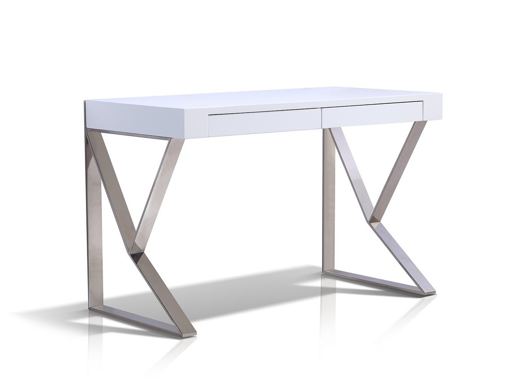 York Office Desk High Gloss White Lacquer High Polished Steel Casabianca