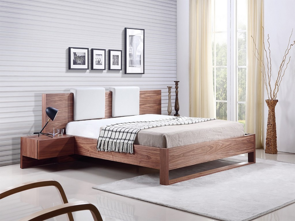 BAY Queen bed in walnut veneer and two removable pu-leather white pillows - Casabianca TC-0197-Q-WAL