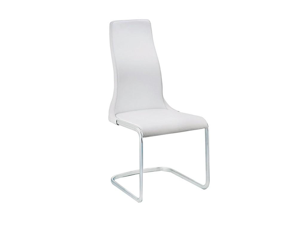 Casabianca Vero Dining Chair White Leather Chrome Plated Base Casabianca