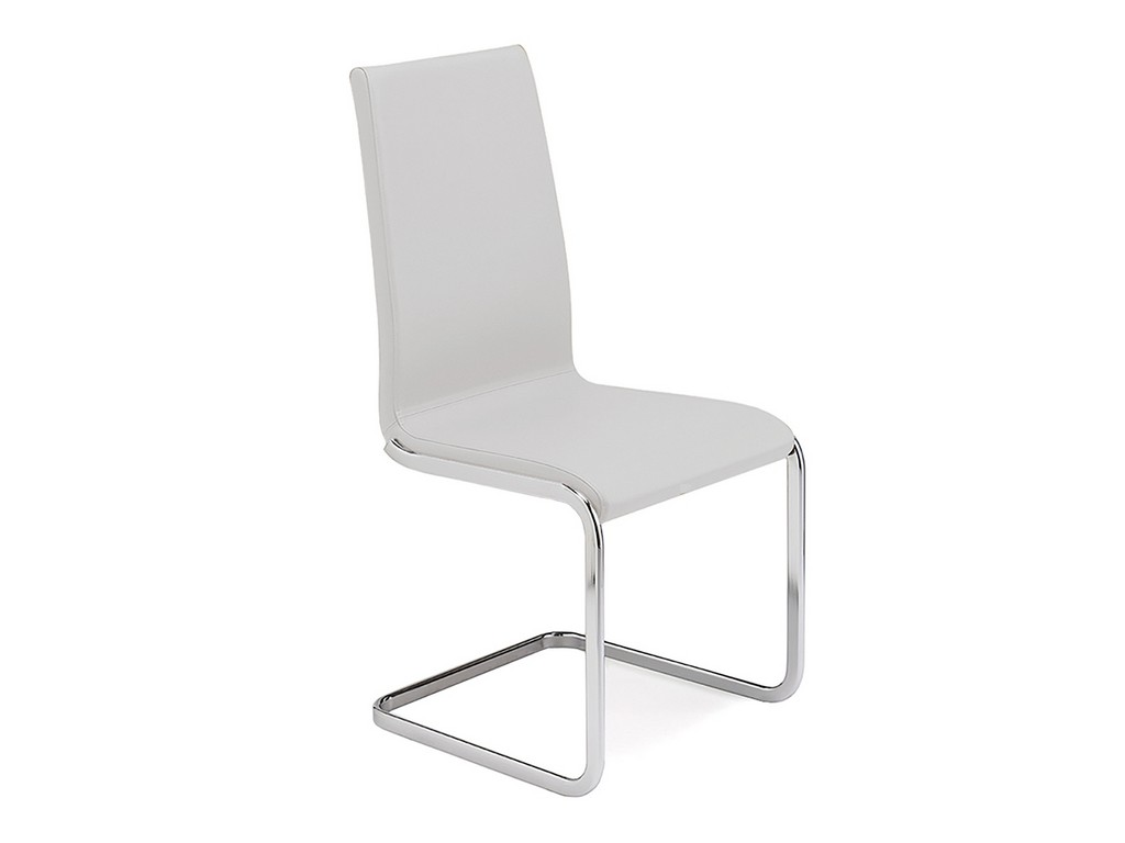 AURORA dining chair in white leather with chrome plated base - Casabianca TC-2020-WH