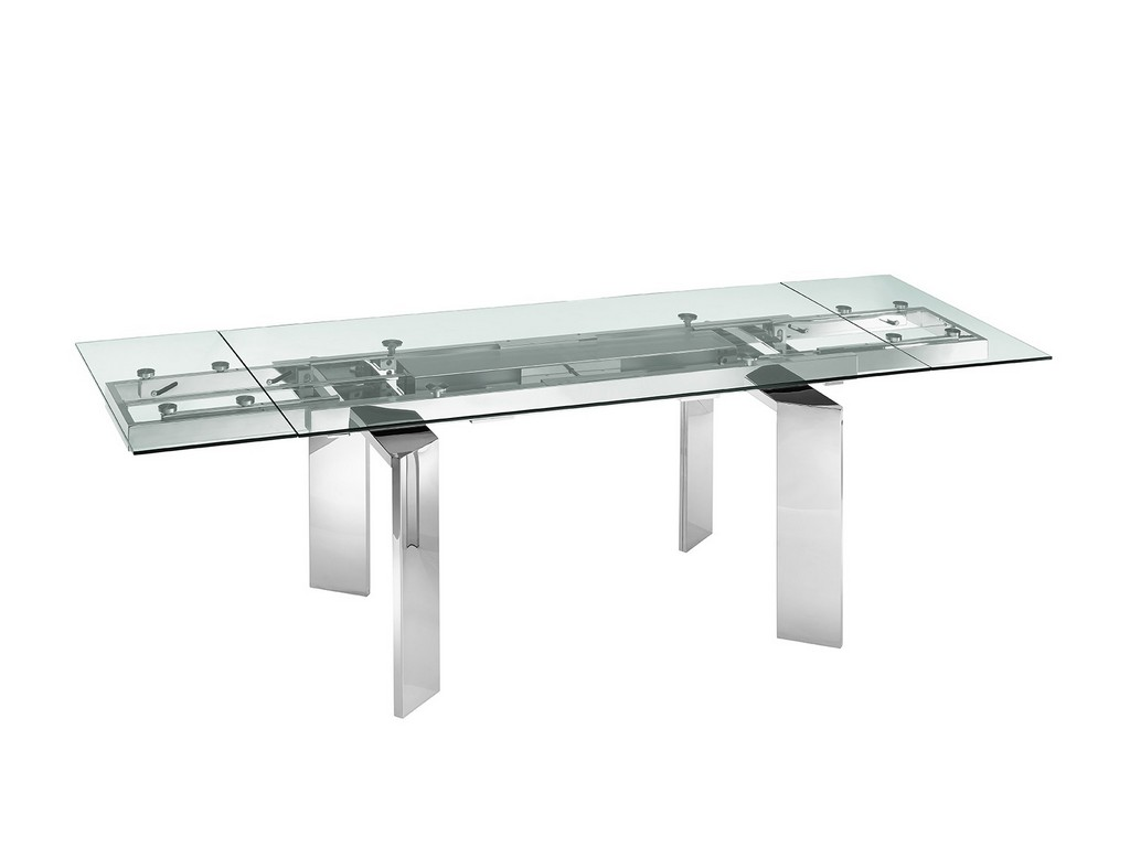 ASTOR dining table in clear glass with polished stainless steel base - Casabianca TC-MAN05CLR