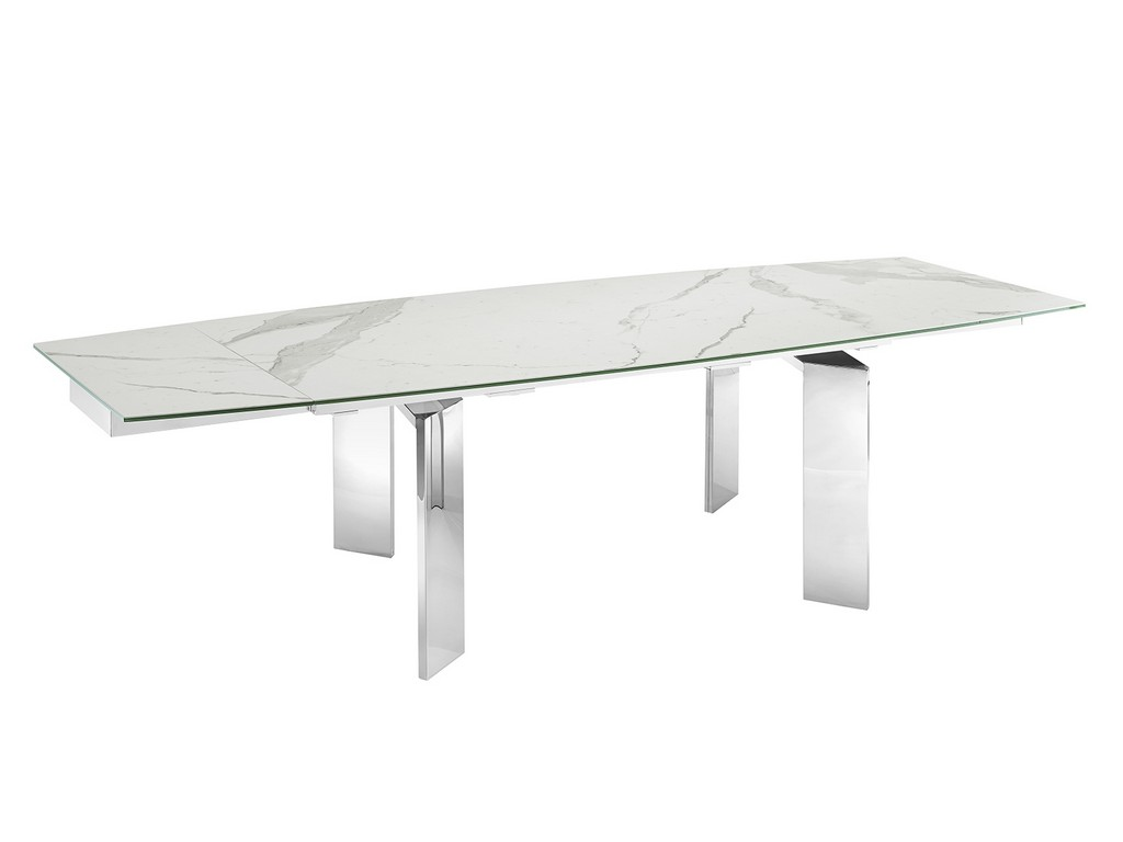 ASTOR dining table in white marbled porcelain top on glass with high gloss white lacquer base - Casabianca TC-MAN05MAR