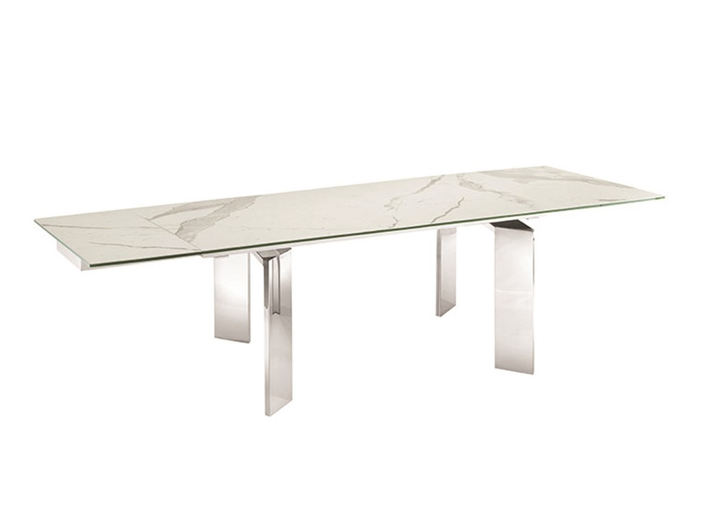ASTOR dining table in white marbled porcelain top on glass with high gloss white lacquer base - Casabianca TC-MANREC05MAR