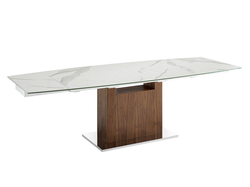 Casabianca Motorized Dining Table White Marbled Porcelain Top
