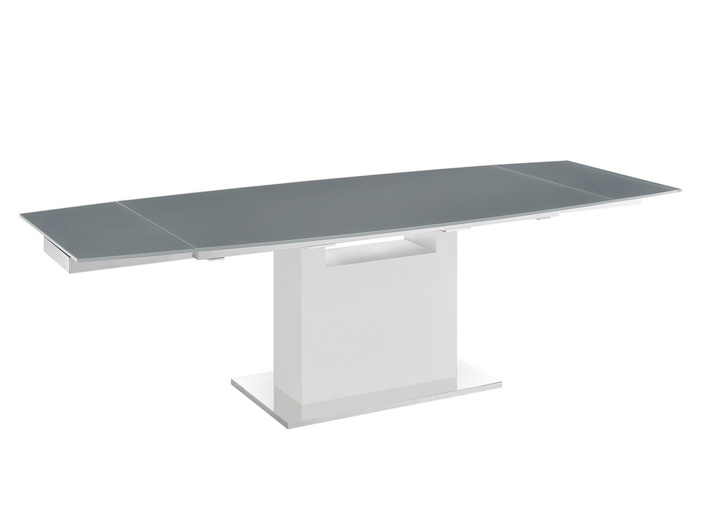 Casabianca Motorized Dining Table Gray Glass High Gloss White