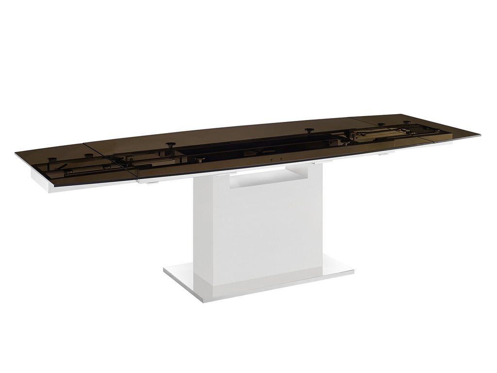Motorized Dining Table Smoked Glass High Gloss White Lacquer Base Casabianca