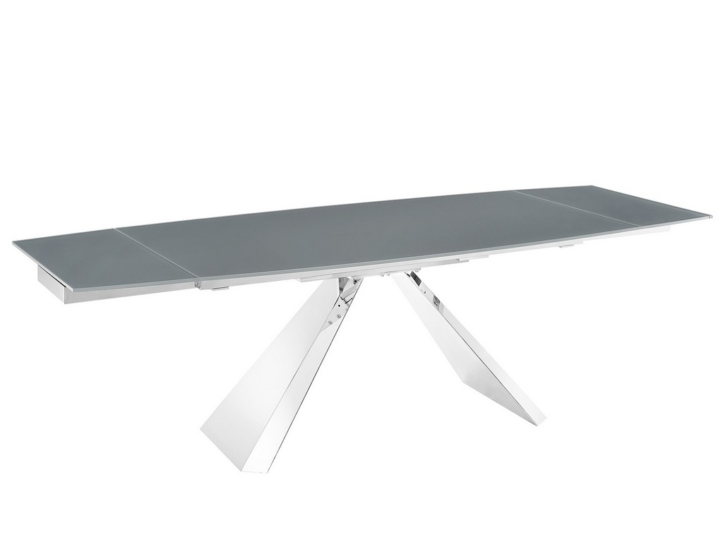 Stanza Motorized Dining Table Gray Glass Polished Steel Base Casabianca