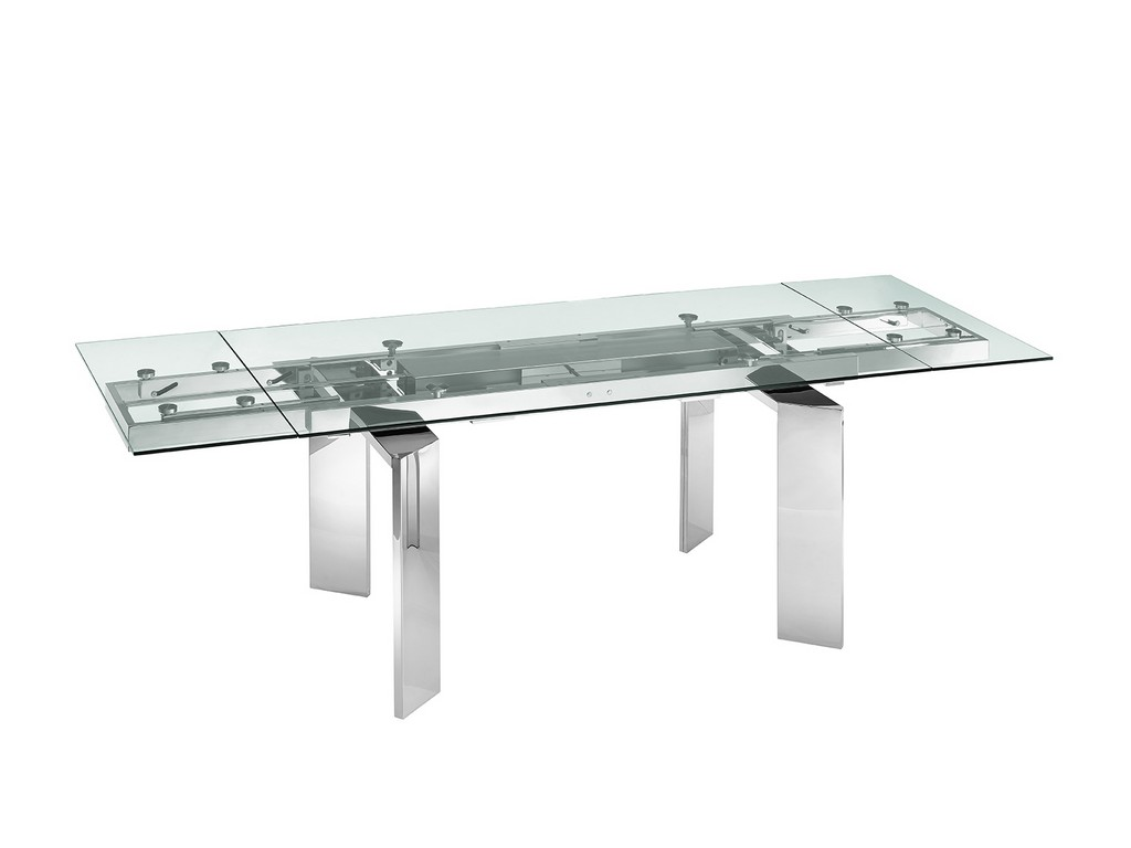 ASTOR motorized dining table in clear glass with polished stainless steel base - Casabianca TC-MT05CLR