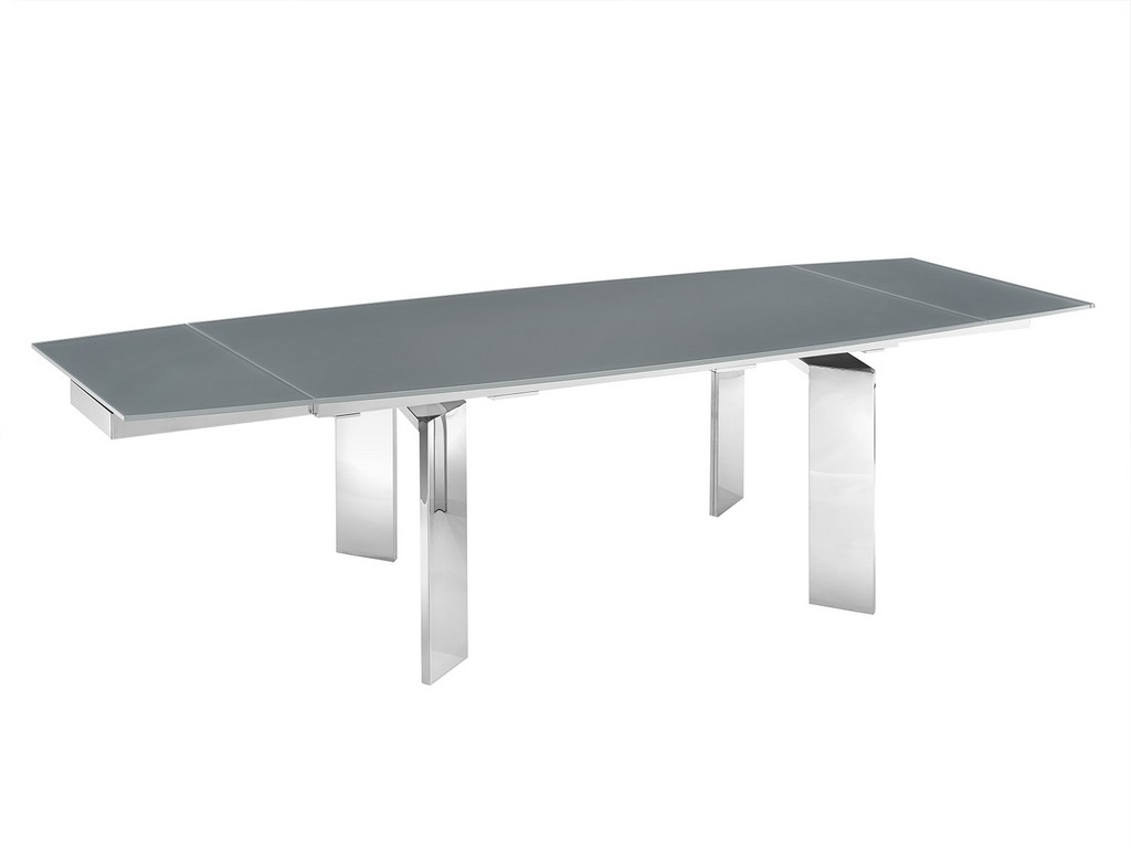 ASTOR motorized dining table in gray glass with polished stainless steel base - Casabianca TC-MT05GRY