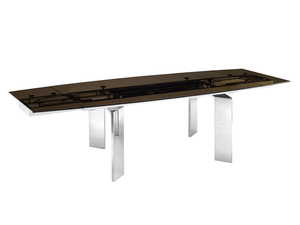 ASTOR motorized dining table in smoked glass with polished stainless steel base - Casabianca TC-MT05SMK