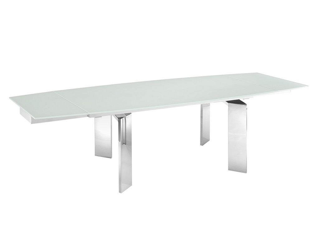 ASTOR motorized dining table in white glass with polished stainless steel base - Casabianca TC-MT05WHT