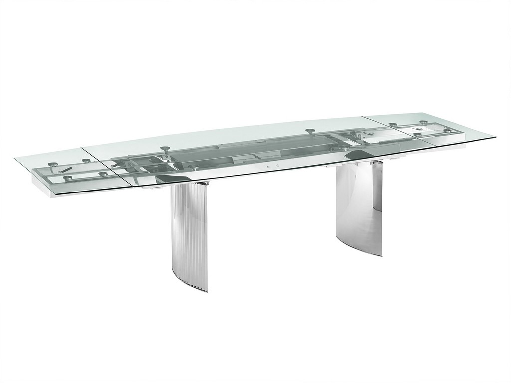 ALLEGRA motorized dining table in clear glass with polished stainless steel base - Casabianca TC-MT06CLR