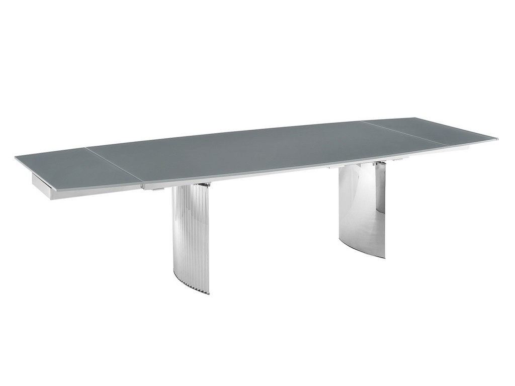 ALLEGRA motorized dining table in gray glass with polished stainless steel base - Casabianca TC-MT06GRY