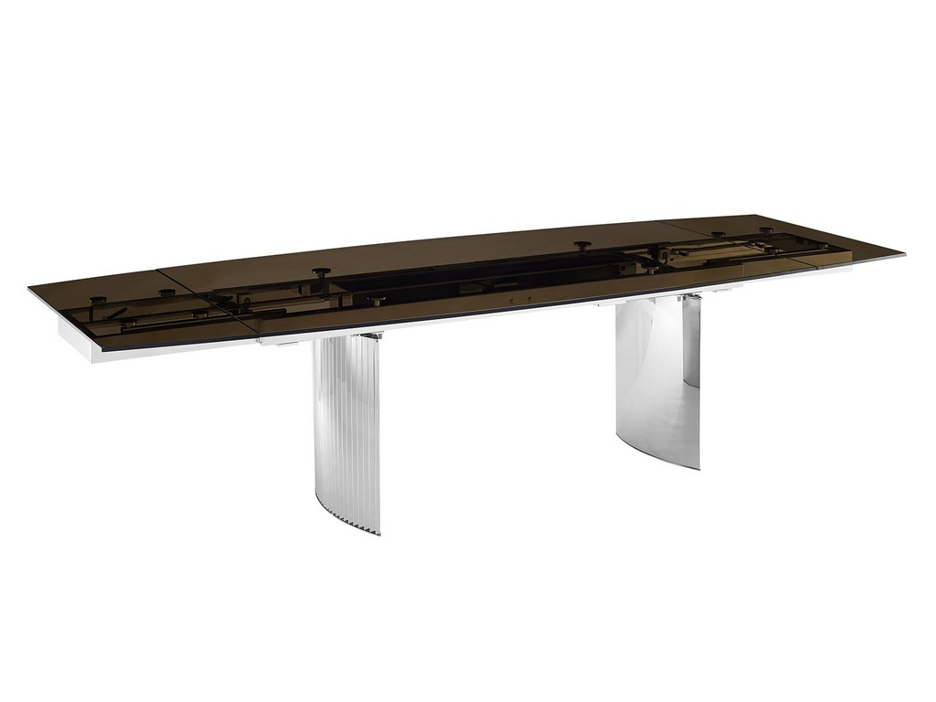 ALLEGRA motorized dining table in smoked glass with polished stainless steel base - Casabianca TC-MT06SMK