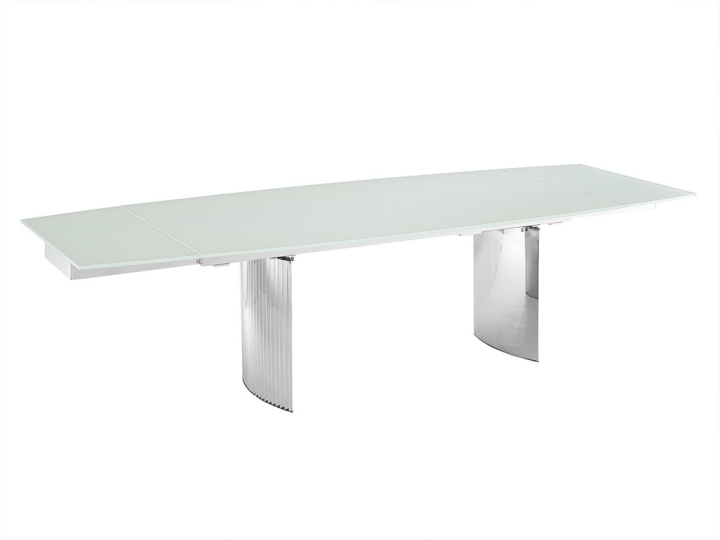 ALLEGRA motorized dining table in white glass with polished stainless steel base - Casabianca TC-MT06WHT