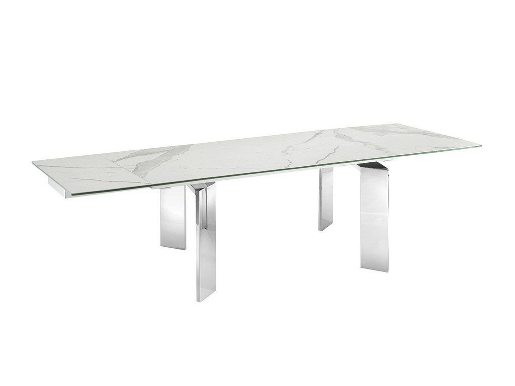 ASTOR xl motorized dining table in white marbled porcelain top on glass with polished stainless steel base - Casabianca TC-MTXL05MAR