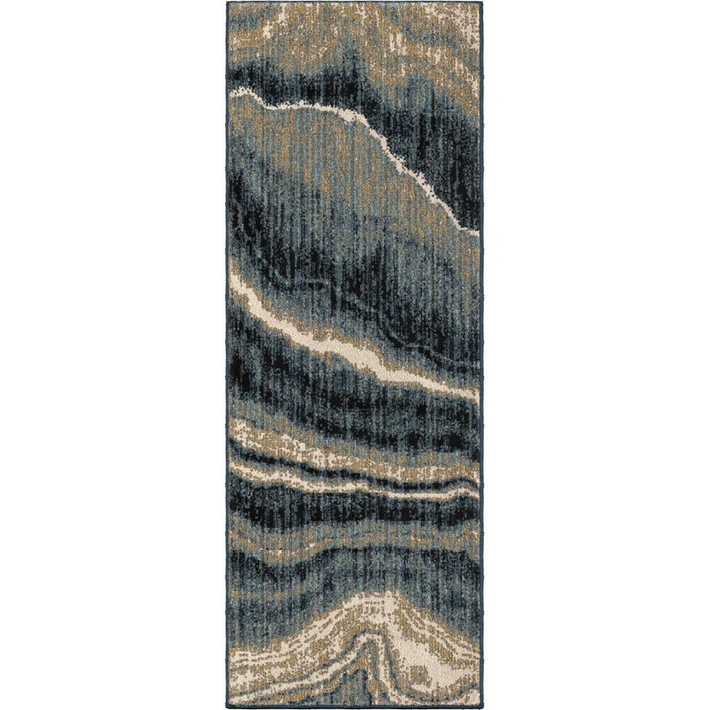 American Heritage Impressionist Stone Indigo Runner - Orian Rugs AHS/MIMB/82IN/057X153