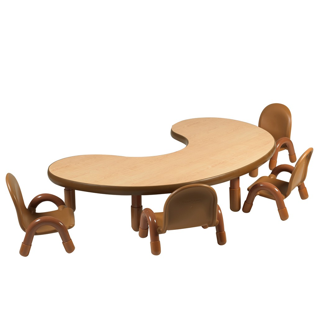 Childrens Factory Baseline Toddler Kidney Table Chair Set Natural Wood