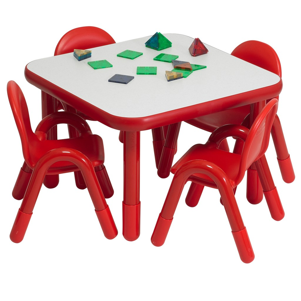 Baseline Preschool Square Table Chair Set Candy Apple Red Children Factory