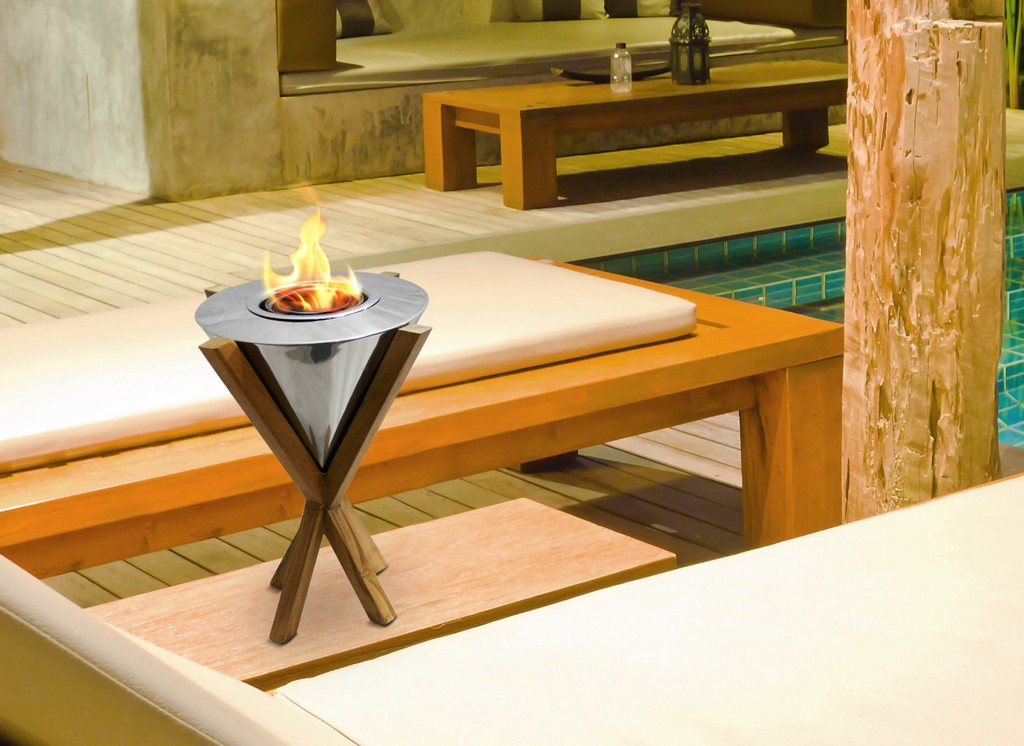 Anywhere Fireplace Indoor/Outdoor Fireplace - Southampton Teak Table Top Fireplace - Anywhere Fireplace 90232