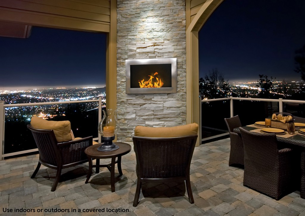 Anywhere Fireplace Indoor Wall Mount - SoHo Model Stainless Steel - Anywhere Fireplace 90299